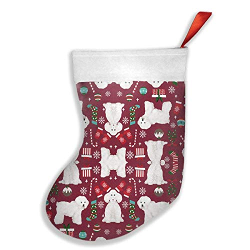 HuaXuAgr Christmas Stockings Bichon Frise Dog Breed Stocking with White Polyester Cuff - Bichon Frise Calendar Holder