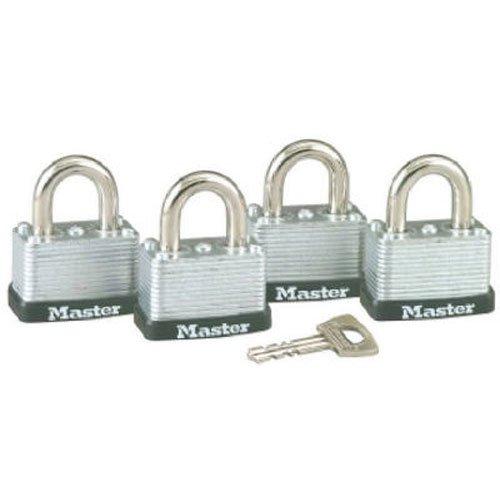 - Master Lock 3009D Keyed-Alike Warded Padlock, Steel, 1-1/2-inch Wide Body, 4-Pack, 2-Keys Included