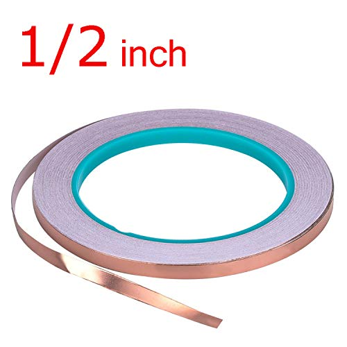 Zehhe Copper Foil Tape with Double-Sided Conductive (1/2inch X 21.8yards)- EMI Shielding,Stained Glass,Soldering,Electrical Repairs,Slug Repellent,Paper Circuits,Grounding (1/2inch)