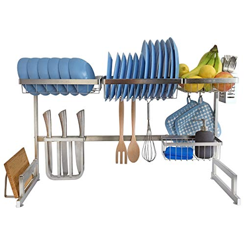 Kitchen Over Sink Dish Drainer, Large Dishes Drying Rack, Kitchen Sink Organizer, Stainless Steel, Ultimate Space Saver, Sturdy Dish Racks for Counter, Free Standing (Large, Silver)