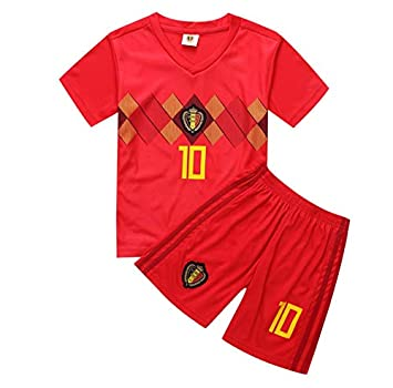 eda934f8eec 2018 FIFA World cup Children Football Jersey Belgium Team No.10 Hazard  Football suits T