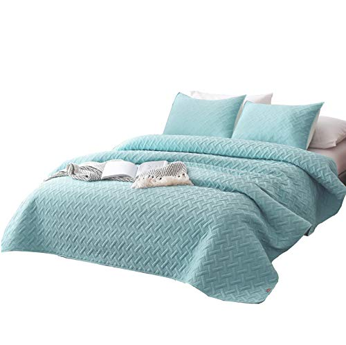 DAWNDIOR Super Soft Quilt-Bedding-Coverlet-Sets,Queen Size with 2 Shams and 1 Lightweight Quilted Comforter with Solid Color
