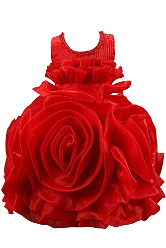 Fanciest Organza Ball Ruffles Girl for Gown Weddings Flower Women's Red Dresses 55twqEr