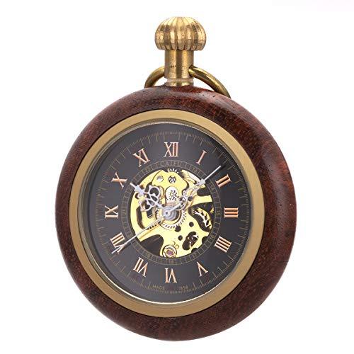 Wooden Mechanical Roman Numerals Pocket Watch Open Face Fob SIBOSUN for Men Women Chain