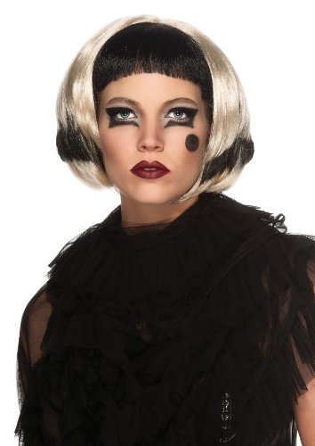 Lady Gaga Best Costumes (Lady Gaga Two-Tone Wig, Black/Blonde, One Size)