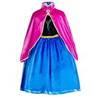 Party Chili Princess Costumes Birthday Party Dress Up for Little Girls/Long Sleeve with Cape 10-11 Years (150cm)