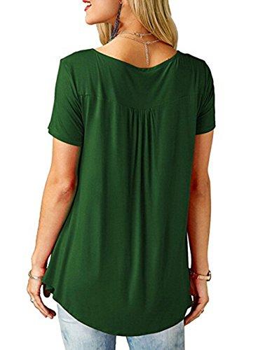 adc7e9540256 T Shirt V Ausschnitt Damen Lockere T Shirts Tunika Frauen Oversize Sommer  Longshirt Kurzarm Lässige Tops ...