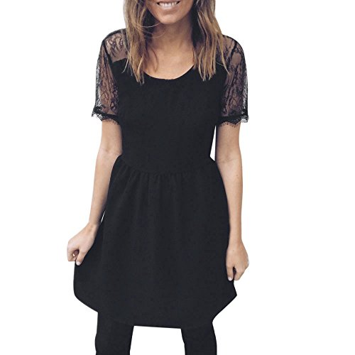 Womens cut-price Holiday O Collar Lace Party Ladies Casual Short Sleeve Dress]()