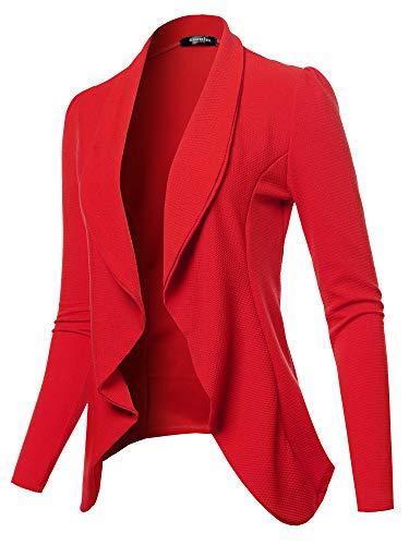 SSOULM Women's Long Sleeve Classic Draped Open Front Lightweight Blazer RED M
