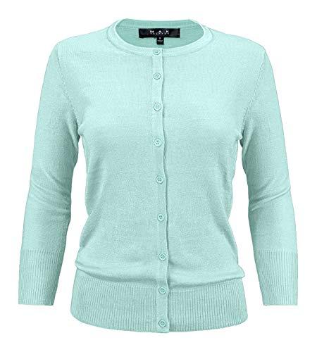 YEMAK Women's 3/4 Sleeve Crewneck Button Down Knit Cardigan Sweater CO079-IBL-L Ice Blue