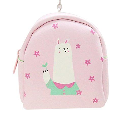 Cartera de Cuero Llavero, Holacha Mini Monodero Clutch Forma de Mochila Backpack Lindo para Mujeres Chicas D