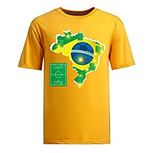 Brasil 2014 FIFA World Cup Theme Short Sleeve T-shirt,Football Background Mens Cotton shirts yellow