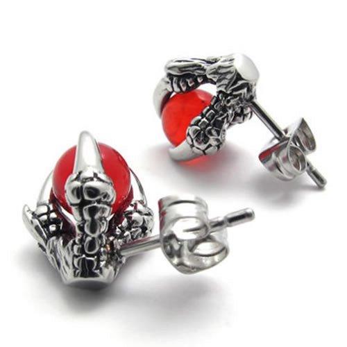 KONOV Bijoux Boucles d'oreilles Homme - Clous d'oreille - Griffe du Dragon Tribal Biker - Acier Inoxydable - pour Homme - Couleur Rouge Argent - Avec Sac Cadeau - F20473