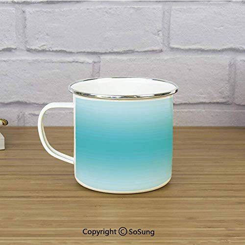 Ombre Enamel Coffee Mug,Tropical Beach Cove Aquatic Ombre Design Digital Printed Room Decorations Art Print,11 oz Practical Cup for Kitchen, Campfire, Home, TravelTurquoise