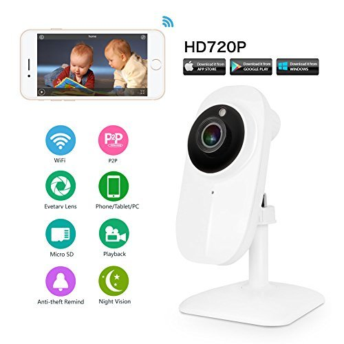 Ideanext Wireless 720p High Definition Ip Network Video Monitoring Camera Security Surveillance Monitor Supports Microsd DVR Night Vision Record Video Two-way Audio, Motion Detection, Remote Internet Viewing for Iphone, Ipad, Android Smartphone or Pc