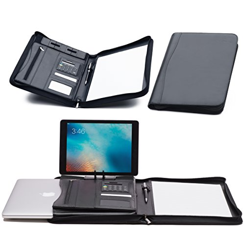 UPC 619775090248, Padfolio Leather Portfolio - Zippered Business Notebook Binder & Office Organizer Folder - Ipad Stand & 10.5 Inch MacBook Sleeve [Bonus] Calculator, Notepad With Paper & BallPoint Pen