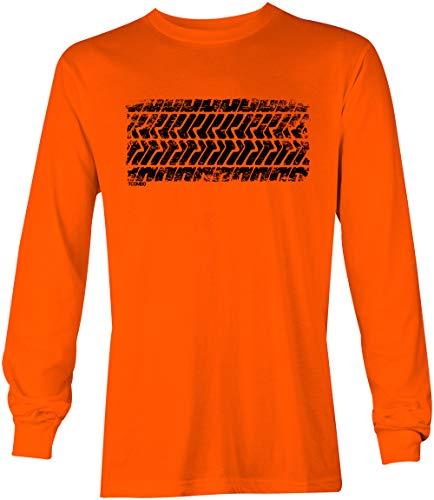 T-shirt Track Sayings (Tire Track - Street Racing Car Turbo Unisex Long Sleeve Shirt (Orange, XX-Large))