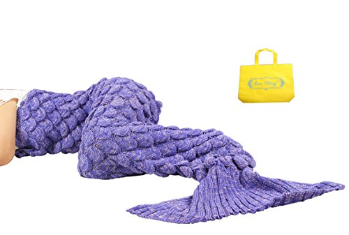 Sun Cling Mermaid Tail Blanket Crochet for Adult Teens Living Room Bedroom...