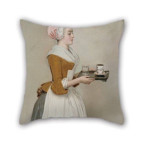 Oil Painting Jean-Etienne Liotard - The Chocolate Girl Throw Pillow Covers ,best For Bedroom,her,home Theater,floor,divan,birthday 16 X 16 Inch / 40 By 40 Cm(2 Sides)