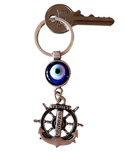Silver Plated Good Luck Evil Eye Keychain Keyrings Decorative Greek -Turkish - Jewish - Christian (Boat Ship Steering (Evil Eye Silver Keychain)