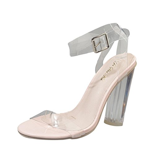 Lolittas Gladiator Sandals for Womens Ladies Sparkly High Block Heels Transparent Peep Toe Wide Fit Slingback Outdoor Shoes Size 2-9 Clear xT4pb8Bc