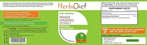Korean Red Panax Ginseng Root Extract 80% Ginsenosides Capsules Boosts Energy (5 Capsules) by Herbadiet (Image #1)