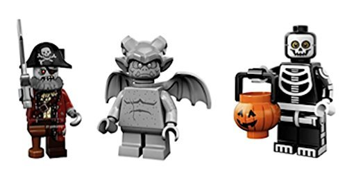 Gargoyle, Zombie Pirate Captain, Skeleton Trick or Treater : Lego Collectible Minifigures Series 14 Monsters, Zombies, Halloween Custom Bundle 71010