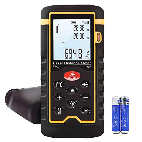 Laser Distance Meter, Handheld 196 Foot Laser Measuring of Distance, Area, Volume-Digital Laser Ruler with Mute Function, Portable and Lcd Display with Bubble Level, Hti-Xintai