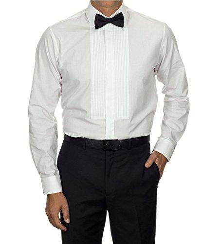 Spread Collar Tuxedo (Van Heusen Men's 13V0437 Spread Collar Formal Tuxedo Shirt White - 19.5 6-7)