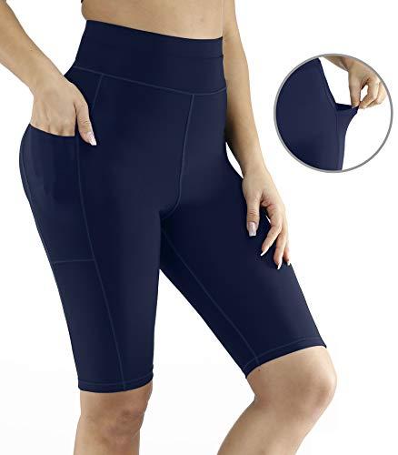 Luodemiss Women's Long Swim Shorts, High Waist Board Shorts Tummy Control Swim Bottom Side Pockets Inner Brief Boardshorts Navy XL