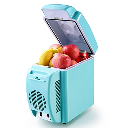 Housmile Thermo – Electric Cooler and Warmer Portable Mini Fridge 12 Can Car Refrigerator Personal Freezer AC & DC – 7L Capacity