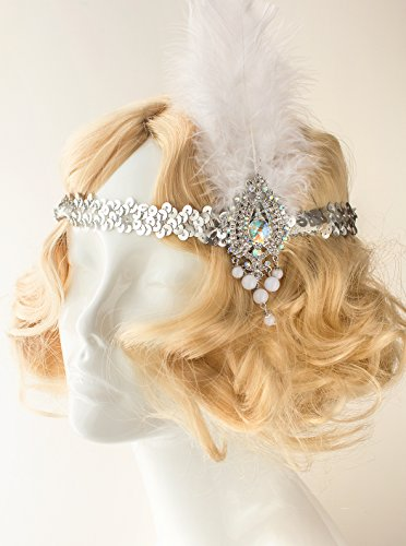 Diy 1920s Costumes (Flapper White Feather Gatsby Headband Costume)