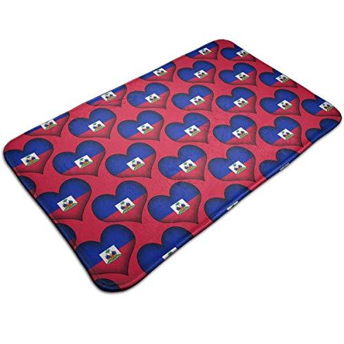 Mcdorty Bath Mats Non-Slip Mats Haiti Love Doormats Super Absorbent Indoor/Outdoor Uses 19.5