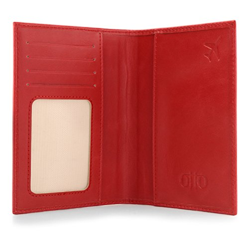 OTTO Leather Passport Wallet - RFID Blocking - Unisex (Red) by OTTO (Image #3)
