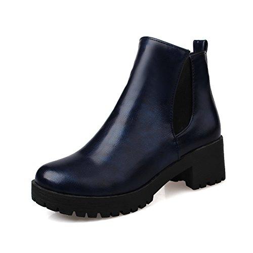 Allhqfashion Heels Kitten Solid Toe Blue Zipper Round Women's Closed PU Boots HwRwqBF