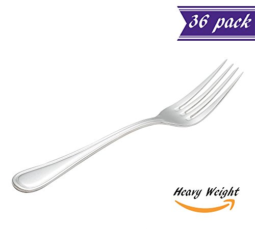 (Set of 36) Tuscany Dinner Forks, Heavy Weight 18/0 Stainless Steel 8-Inch Table Forks for Restaurant / Catering, Commercial Quality Silverware Flatware Set - 18/0 Stainless Steel Dinner