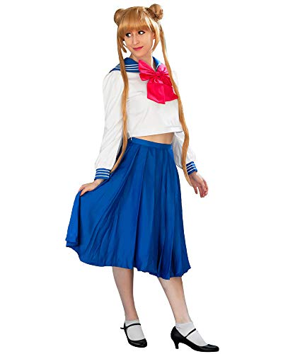 DAZCOS Adult US Size Tsukino Usagi School Uniform Cosplay Costume Sailor Dress (Women XXL) Blue -