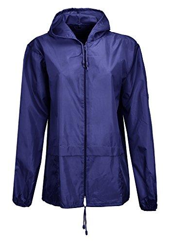 Womens Ladies Kagoule Plain Coloured Hooded Rain Jacket Hooded Top Navy