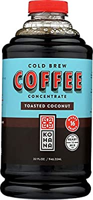 Kohana Cold Brew Coffee Concentrate, Conventional, Toasted Coconut, 32 Ounce, Best Zero Calorie Low Acid Iced Coffee, Instant, Convenient and On The Go, Makes 16 Drinks, Single Bottle