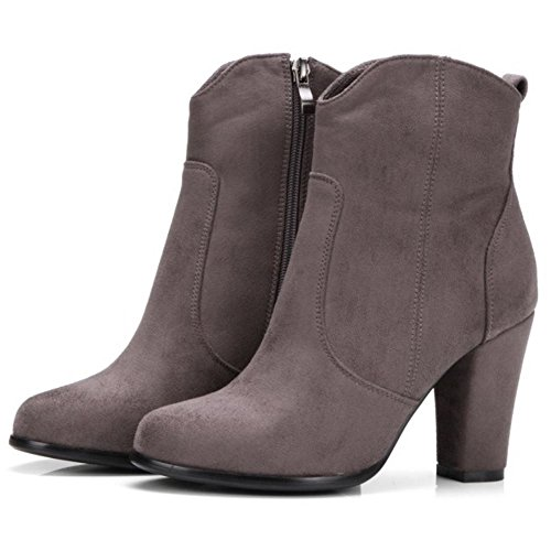 COOLCEPT Women Fashion Chunky High Heel Ankle Boots With Zip Dark Grey d4K7FG9v