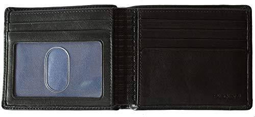 Boconi Collins Calf Leather Billfold Wallet in Black w/Cool ()