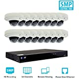 GW Security 16 Channel 4K NVR H.265 Onvif IP Security System with 16 HD IP PoE 5MP (1920P/1080P) Dome Security Camera