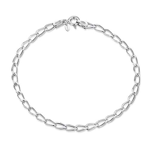Amberta 925 Sterling Silver 3.1 mm Diamond Cut Oval Cable Charm Bracelet Chain Necklace Length 8