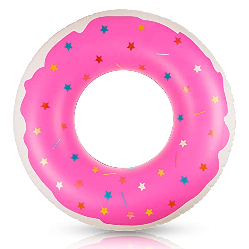 단일 도넛 수영 반지를 가진 20 인치 내부는 40 인치 외부식 에 관한 재미있는 여름 핑크 수영을 원-소설은 달콤한 디자인 비치 게임과 파티에 초보자를 위한 성인과 아이가