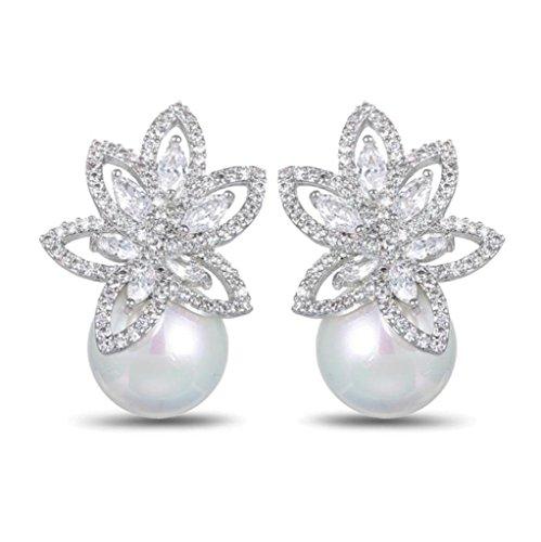 Opal Pearl Stud Earrings or Clip On Dangle Drop Earrings, Charm Jewelry Love Gift For Women Girls by SEKAYISORE