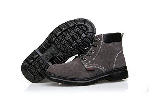 qiangren travail Vache en daim en cuir Chaussures Casual Sport Haute supérieur en maille d'extérieur en caoutchouc