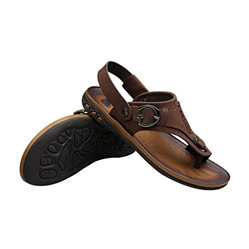 Open With Sandals Mens Flip Toe Moveable Flops H Strap Ankle Leather Brown amp;W qtBRgR