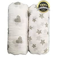 """Seben Baby Muslin Swaddle Blankets 2 Pack - 100% Cotton - 47"""" x 47"""" - Star an..."""