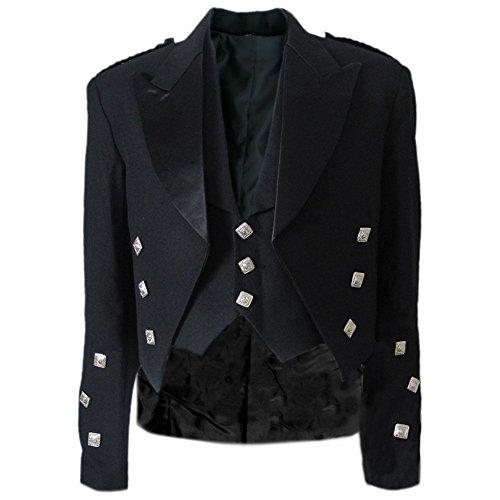 Prince Black Jacket - Tartanista Black Prince Charlie Jacket & Waistcoat- 52L