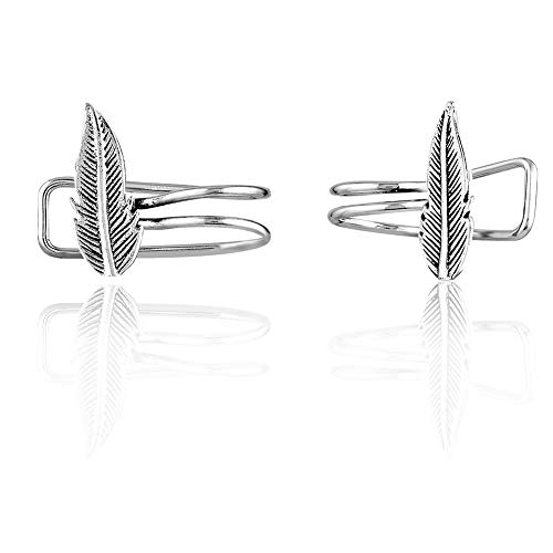 925 Sterling Silver Animal Bird Feather No Pierce Ear Pin Climber Leaves Earrings, Set of Two (2)